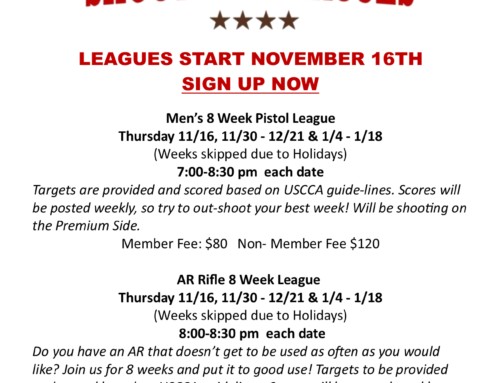 Men's Leagues Start November 16th